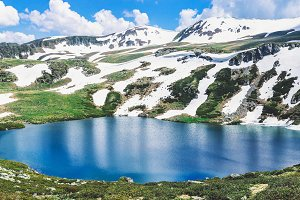 Rocky mountains and turquoise lake.
