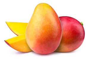 Mangoes with slices isolated