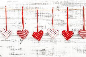 Valentines red hearts decoration