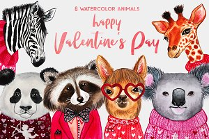 Valentine's Day. Watercolor animals