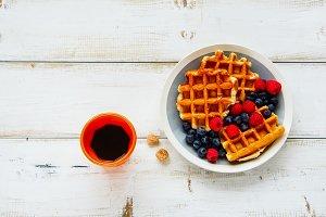 Breakfast with belgian waffles.
