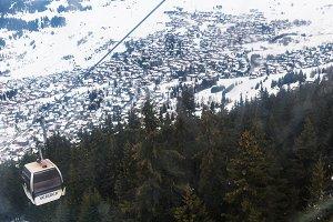 Winter valley in Swiss Alps