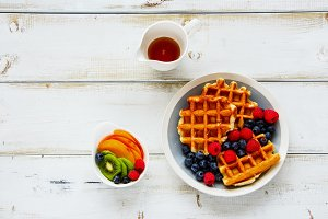 Breakfast with belgian waffles.