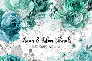 Aqua and Silver Floral Clipart