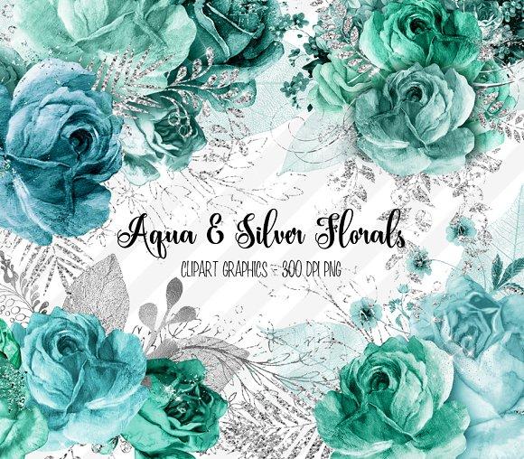 Aqua and Silver Floral Clipart