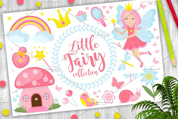 Little Fairy Set Cartoon Style Cute And Mystical Collection For Girls With Fairytale Forest Princess Magic Wand Mushroom House Rainbow Mirror Birds Butterflies Flowers Vector Illustration