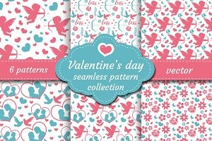 Happy Valentine's Day seamless pattern set. Collection Cute romantic love endless background. Cupid, heart, flowers, couple repeating texture. Vector illustration