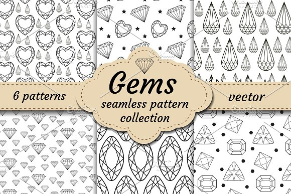 Diamond Seamless Pattern Set Line Sketch Doodle Style Modern Trendy Endless Background With Jewelry Gems Repetitive Texture Gemstone Wallpaper Backdrop Paper Vector Illustration