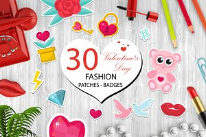 Happy Valentine's Day fashion icons set or stickers patches 80s comic style. Pins, badges collection cartoon pop art with cute symbol, heart, teddy bear, candy, kiss, gift, love. Vector illustration