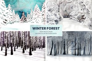 Winter Forest Watercolor Backgrounds