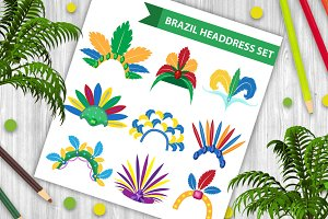 Brazil Feather Headband Headdress icons flat style. Headpiece Carnival, Samba Festival headwear. Isolated on white background. Vector illustration