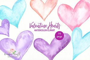 Watercolor Valentine Hearts