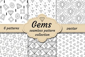 Diamond seamless pattern set, line, sketch, doodle style. Modern trendy endless background with jewelry. Gems repetitive texture. Gemstone wallpaper, backdrop, paper. Vector illustration