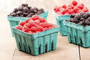 Boxes of red and black raspberries