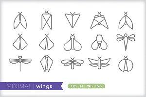 Minimal wings icons