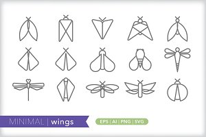 Minimal wings icons