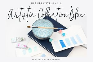 Artistic Stock Image Bundle, Blue