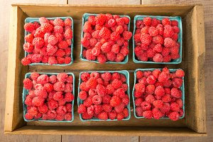 Crate of ripe red raspberries