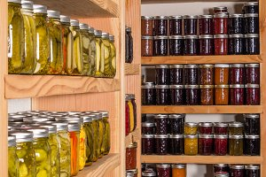Shelves of canned goods in pantry