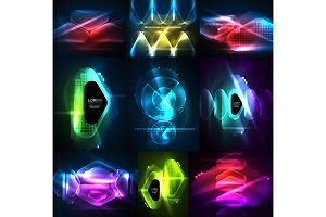 Set of glowing abstract shapes neon shiny hi-tech abstract backgrounds