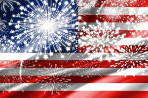 Fireworks and USA flag background