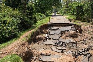 Asphalt road path collapsed head