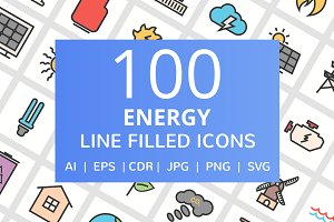 100 Energy Filled Line Icons