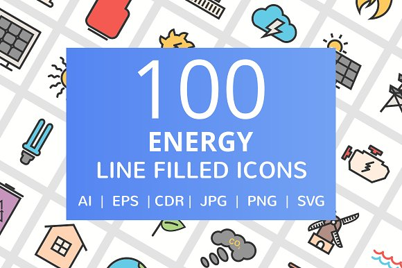 100 Energy Filled Line Icons in Graphics