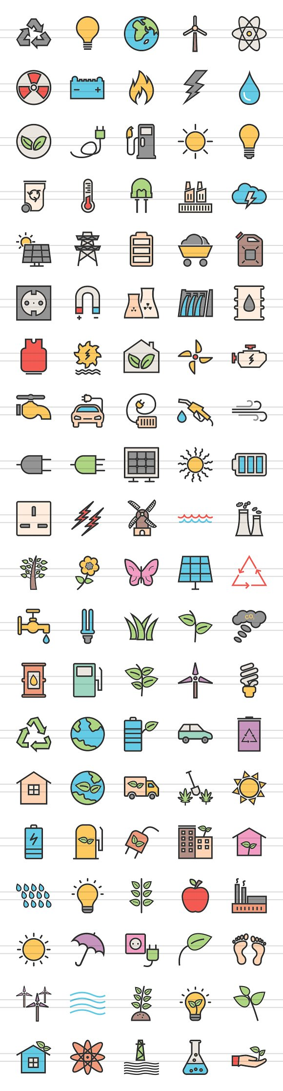100 Energy Filled Line Icons in Graphics - product preview 1