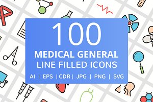 100 Medical General Filled Line Icon