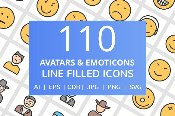 110 Avatars Emoticons Filled Icons