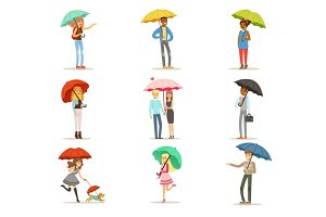 Set of people with colorful umbrellas. Smiling man and woman walking under umbrella colorful characters vector Illustrations