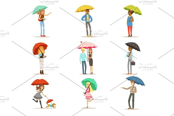 Set Of People With Colorful Umbrellas Smiling Man And Woman Walking Under Umbrella Colorful Characters Vector Illustrations