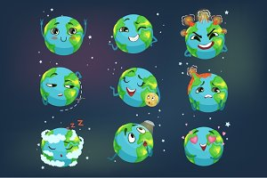 Cute funny planet Earth emoji showing different emotions set of colorful characters vector Illustrations