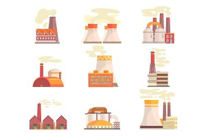 Industrial factory buildings set. Modern power plants colorful vector Illustrations