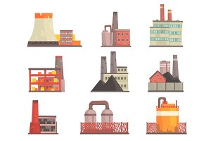 Industrial factory buildings set. Modern power plants, manufacture buildings colorful vector Illustrations