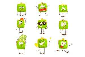 Cute green funny humanized purse showing different emotions set of colorful characters vector Illustrations