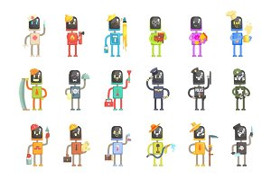 Cute cartoon robots in various professions set of colorful characters vector Illustrations