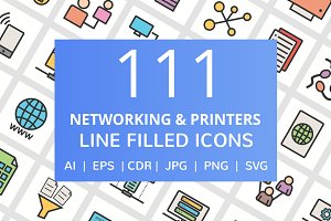 111 Network & Printers Filled Icons