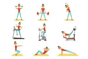 Beautiful woman exercising in the gym with sports equipment set of colorful vector Illustrations