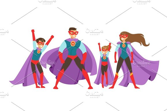 Family Of Superheroes Set Smiling Parents And Their Children Dressed In Superheroes Costumes Colorful Vector Illustrations