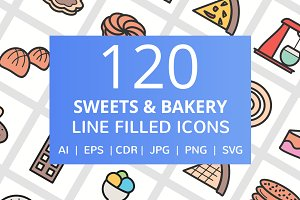 120 Sweet & Bakery Filled Line Icons