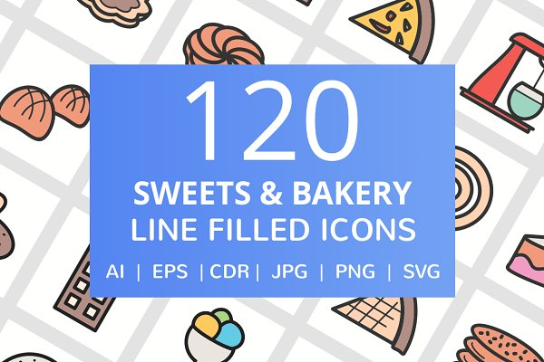 120 Sweet & Bakery Filled Line Icon…