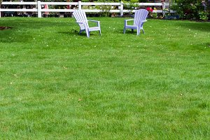 Two chairs on a green lawn