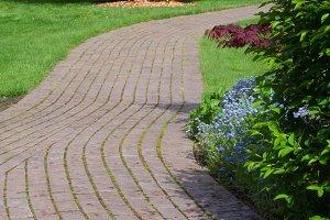 Winding paver path way