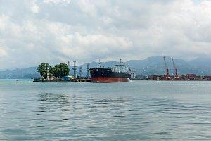 ships in the port of Batumi Georgia