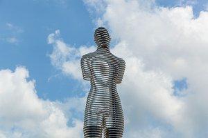 Metal sculpture titled Man and Woman or Ali and Nino. Batumi, Adjara, Georgia
