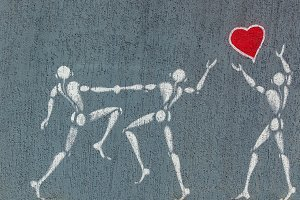 Love heart graffiti red heart and people