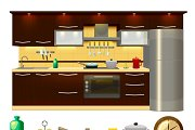 Kitchen Interior Icon Set