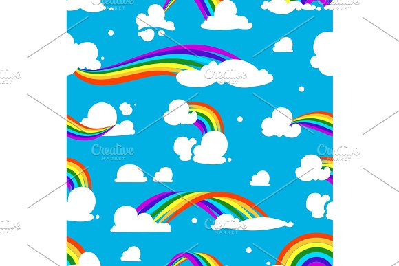 Seamless pattern with clouds and rainbow in Graphics